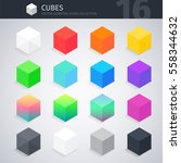 isometric colorful cubes vector ... | Shutterstock .eps vector #558344632