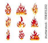colorful fire flames set of... | Shutterstock .eps vector #558351202