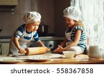 happy family  funny kids are... | Shutterstock . vector #558367858