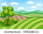summer landscape with green... | Shutterstock .eps vector #558368212