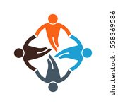 people group in circle logo.... | Shutterstock .eps vector #558369586