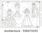 vector coloring book of girls... | Shutterstock .eps vector #558373192