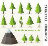 low poly conifer trees set for... | Shutterstock .eps vector #558375562