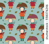 seamless pattern with gnome... | Shutterstock .eps vector #558376246