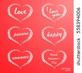 set of creative hearts with... | Shutterstock .eps vector #558394006