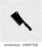 meat cleaver knife    black... | Shutterstock .eps vector #558397558