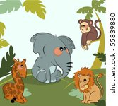 cartoon wild animals in the...   Shutterstock .eps vector #55839880