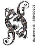 lizard in in tattoo style  | Shutterstock .eps vector #558400108