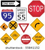 image of various road signs. | Shutterstock .eps vector #55841152