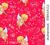 seamless pattern with cupid and ... | Shutterstock .eps vector #558414112