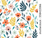vector floral pattern with... | Shutterstock .eps vector #558422086