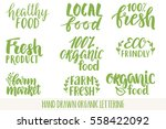 hand drawn eco friendly... | Shutterstock .eps vector #558422092