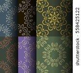 set of seamless vintage... | Shutterstock .eps vector #558425122
