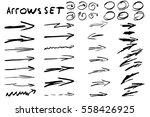 hand drawn arrow set elements.... | Shutterstock .eps vector #558426925