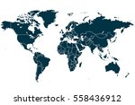 blue world map vector on white... | Shutterstock .eps vector #558436912