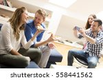 view at group of friends eating ...   Shutterstock . vector #558441562