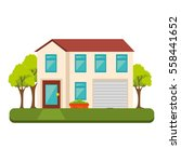 exterior cute house icon | Shutterstock .eps vector #558441652