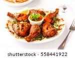 tandoori chicken platter | Shutterstock . vector #558441922