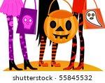 halloween trick or treaters | Shutterstock .eps vector #55845532