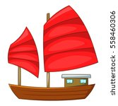 Junk Boat With Red Sails Icon....