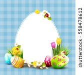 cute easter background with... | Shutterstock .eps vector #558478612