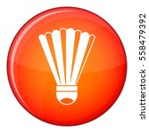 shuttlecock icon in red circle... | Shutterstock . vector #558479392