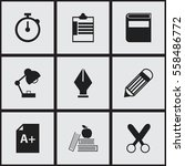set of 9 editable school icons. ... | Shutterstock . vector #558486772