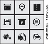 set of 9 editable car icons.... | Shutterstock .eps vector #558490228
