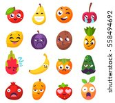emotions fruit characters... | Shutterstock .eps vector #558494692