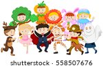 kids dressing up in different... | Shutterstock .eps vector #558507676