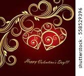 valentine's day red background... | Shutterstock .eps vector #558529396