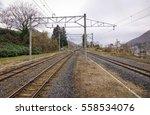Empty Railway Tracks At Rainy...