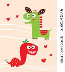 love horse and dinosaur couple | Shutterstock .eps vector #55854076