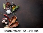 cooking table with herbs ... | Shutterstock . vector #558541405
