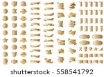 gold banner ribbon label vector ... | Shutterstock .eps vector #558541792