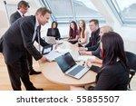 seven people having a meeting... | Shutterstock . vector #55855507