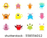 monster big set. cute cartoon... | Shutterstock .eps vector #558556012