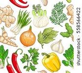vector vegetable seamless... | Shutterstock .eps vector #558566422