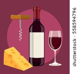 bottle of wine  glass of wine... | Shutterstock .eps vector #558594796