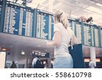 young blonde woman with tickets ... | Shutterstock . vector #558610798