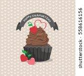 chocolate cupcake in valentine...   Shutterstock .eps vector #558616156