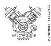 an internal combustion motor.... | Shutterstock .eps vector #558617602