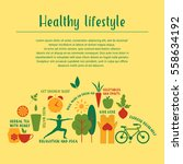 healthy life style in flat... | Shutterstock .eps vector #558634192