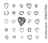 heart icons hand drawn set in... | Shutterstock .eps vector #558637006