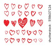 heart icons hand drawn set in... | Shutterstock .eps vector #558637126