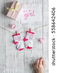 birth of girl   baby shower... | Shutterstock . vector #558642406