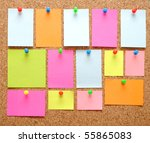 Sticky Notes Over Brown Cork...