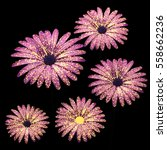 Pink Flowers Composition 3d...