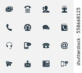 set of 16 simple connect icons. ...