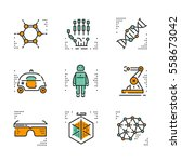 high tech vector icons set on... | Shutterstock .eps vector #558673042